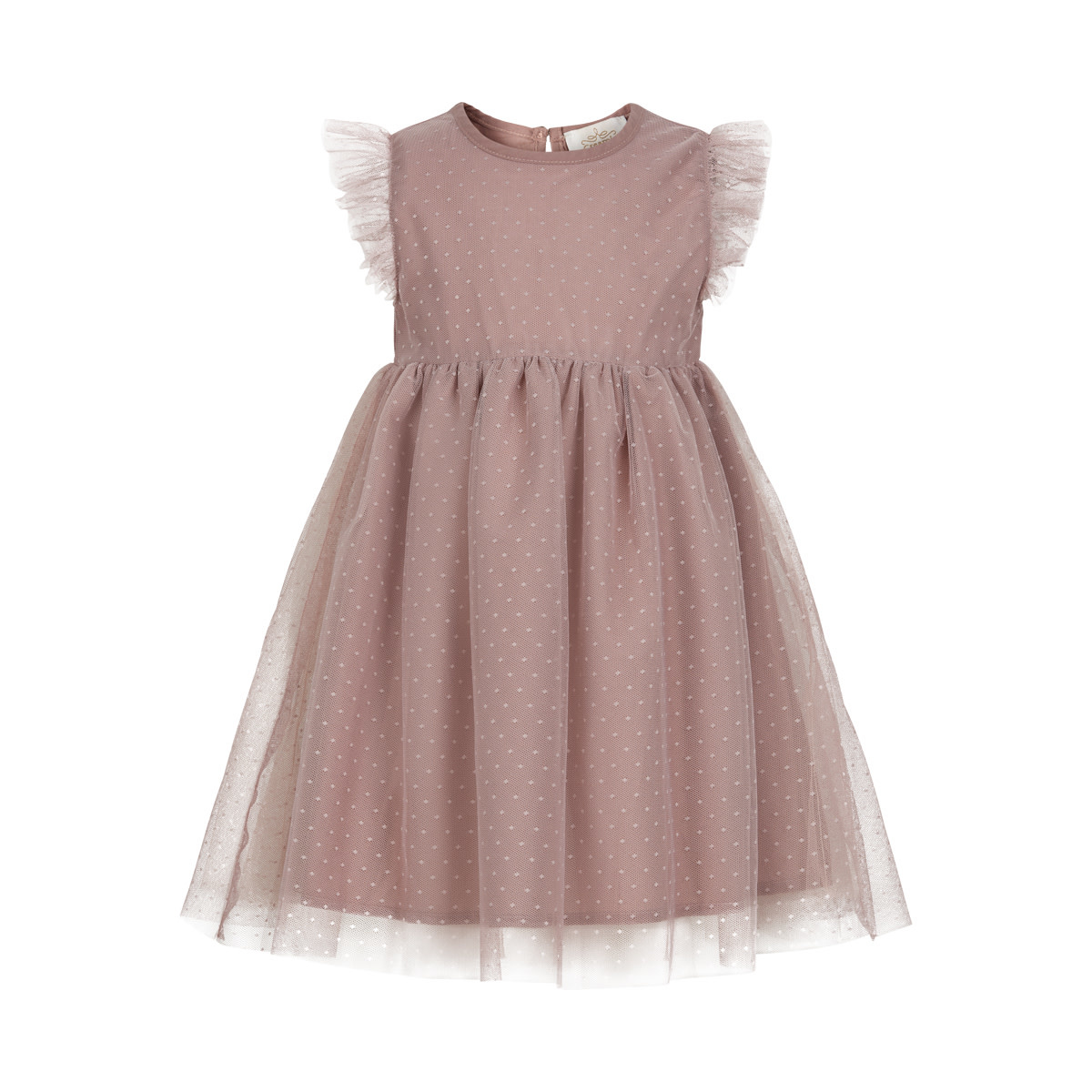 Ruffle Mesh Dress - Adobe Rose