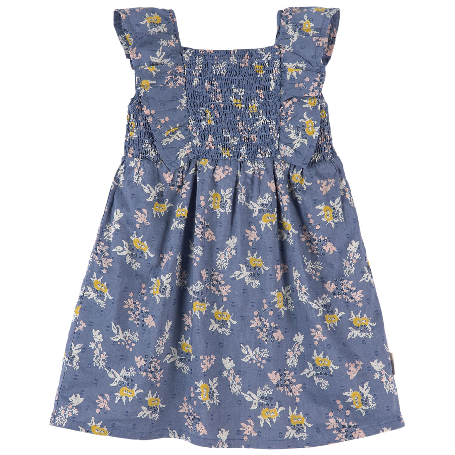 Cotton Dress with Smocked Bodice - Blue Floral