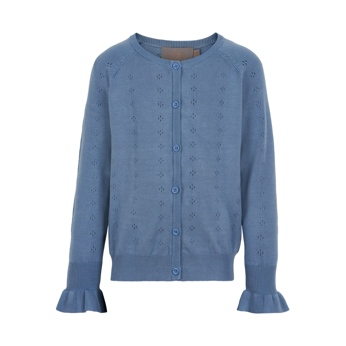 Pointelle Knit Cardigan - Infinity Blue