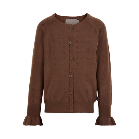 Pointelle Knit Cardigan - Cocoa Brown
