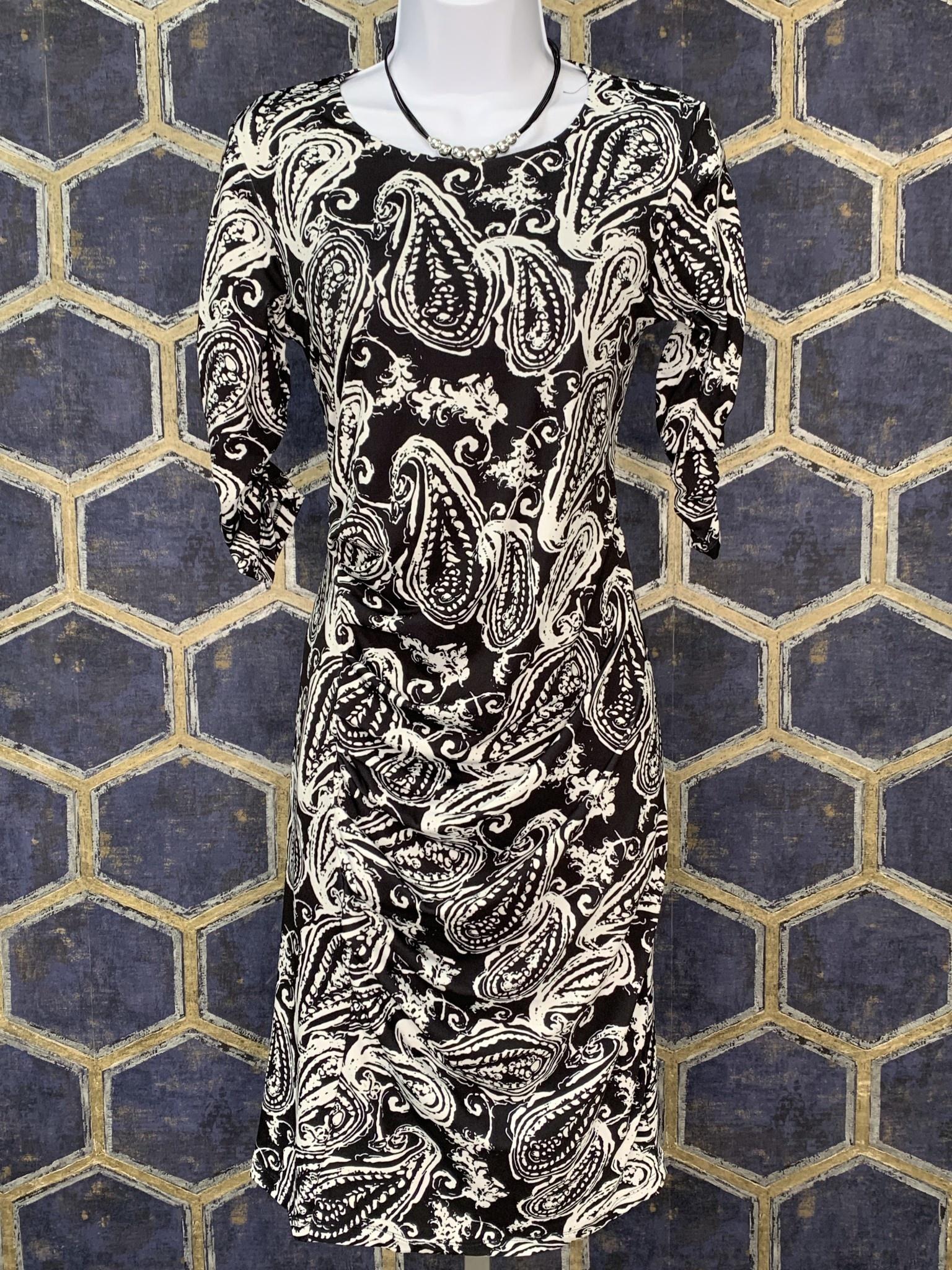 Side Pleat Dress - Black Paisley