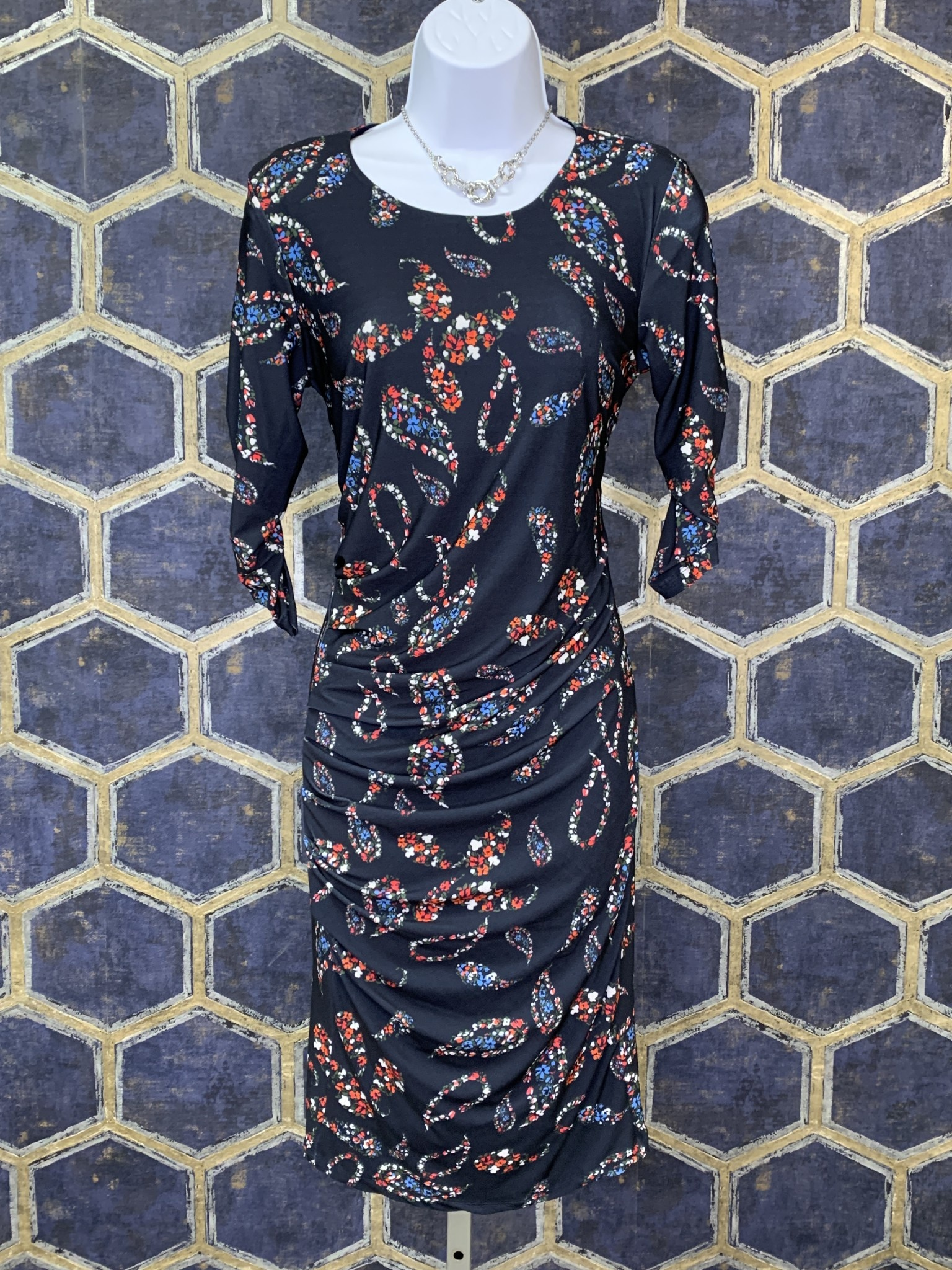 Side Pleat Dress - Navy Floral Paisley