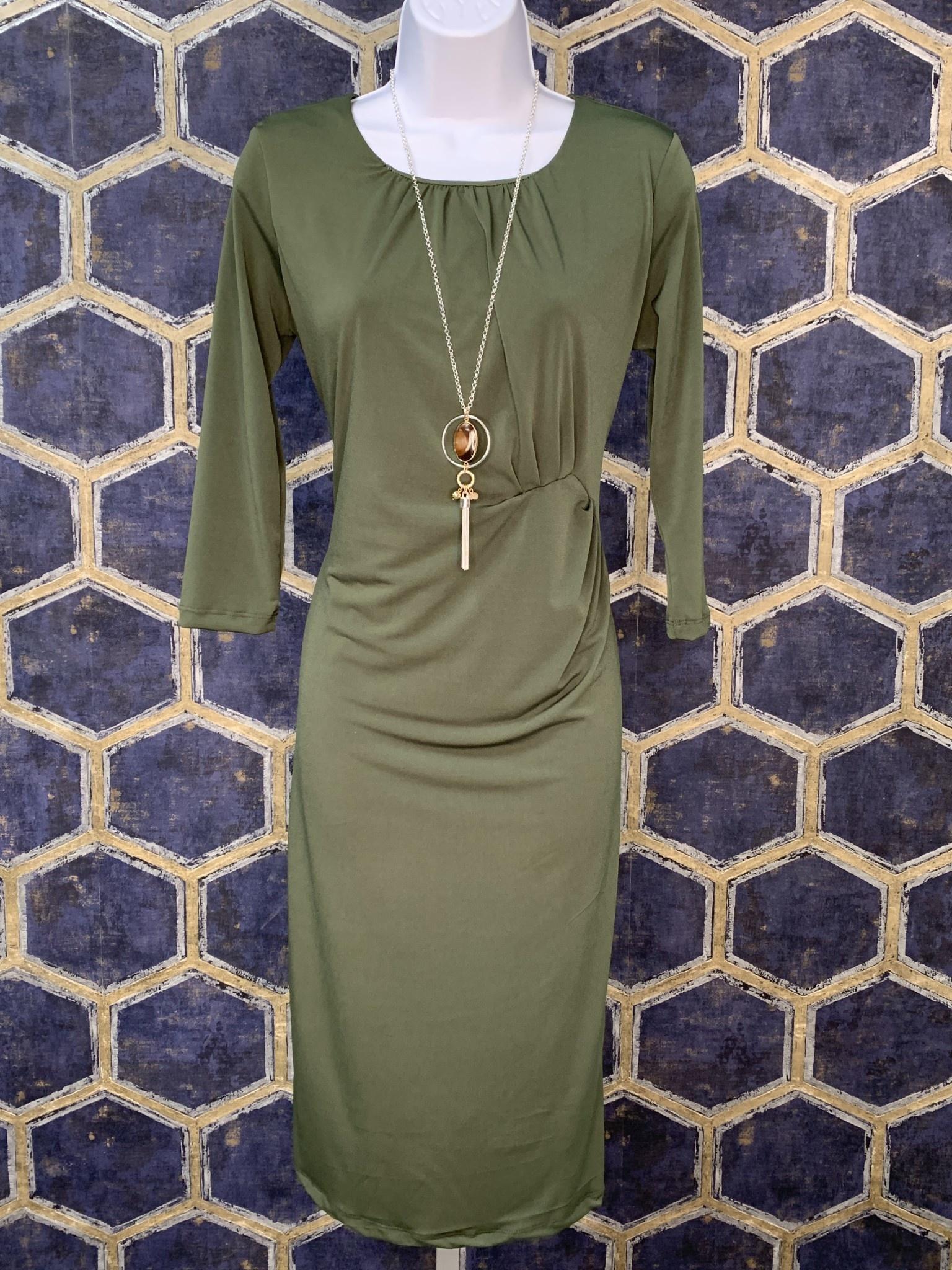 Dress with Side Tucks - Cedar Green