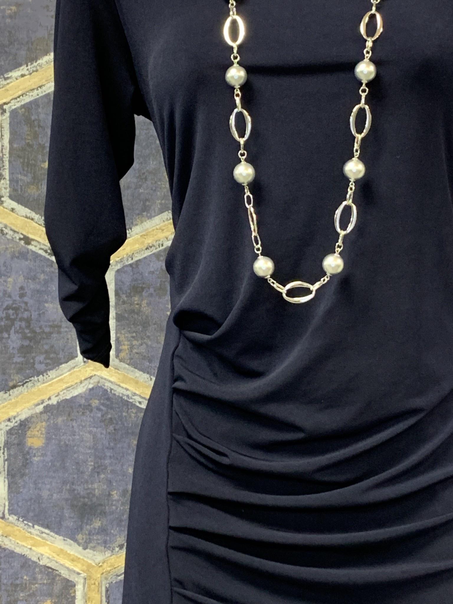 Side Pleat Dress - Navy