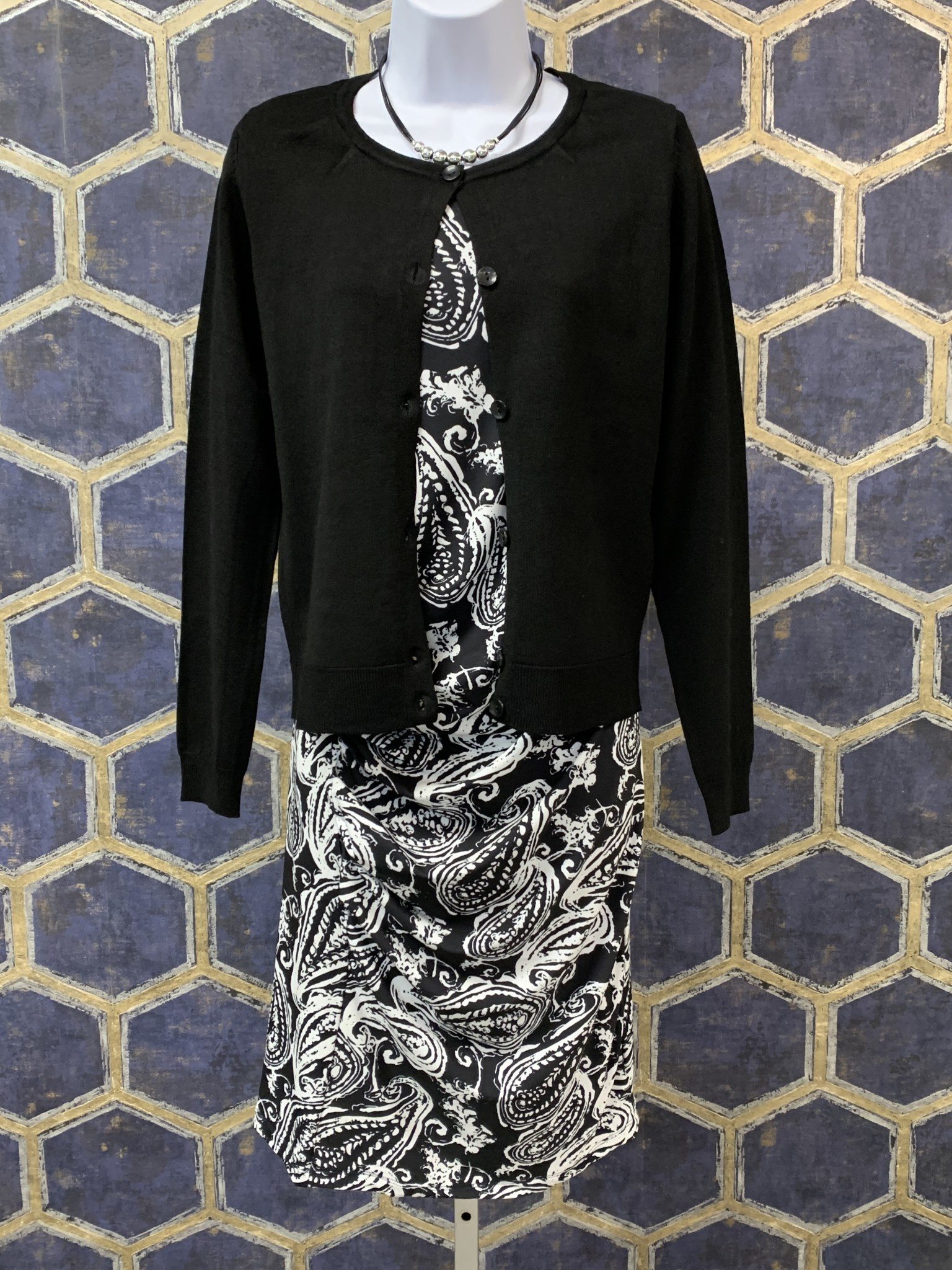 Cardi with Pleated Shoulder - Black