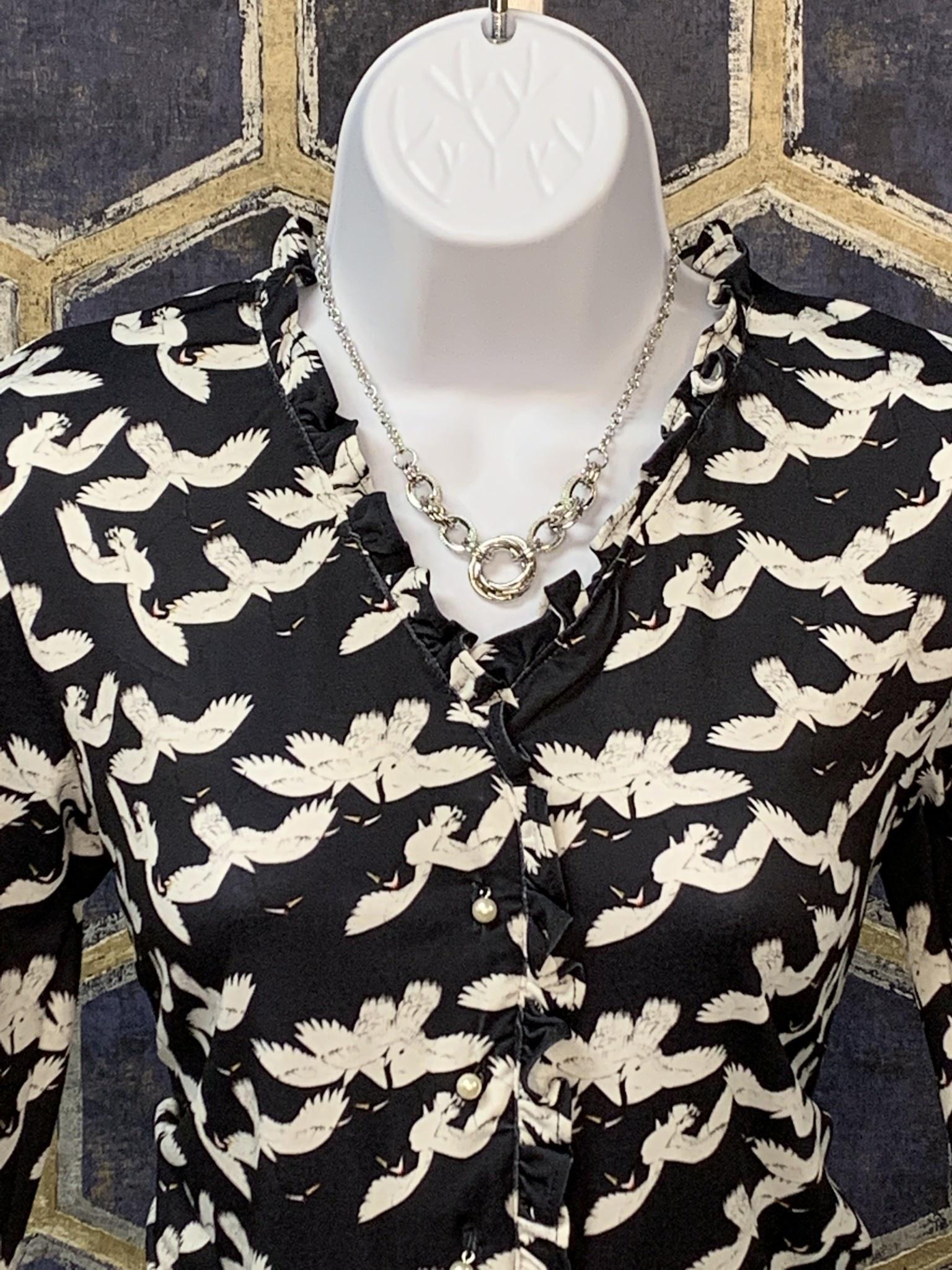 Ruffled Neck Shirt - Navy Crane