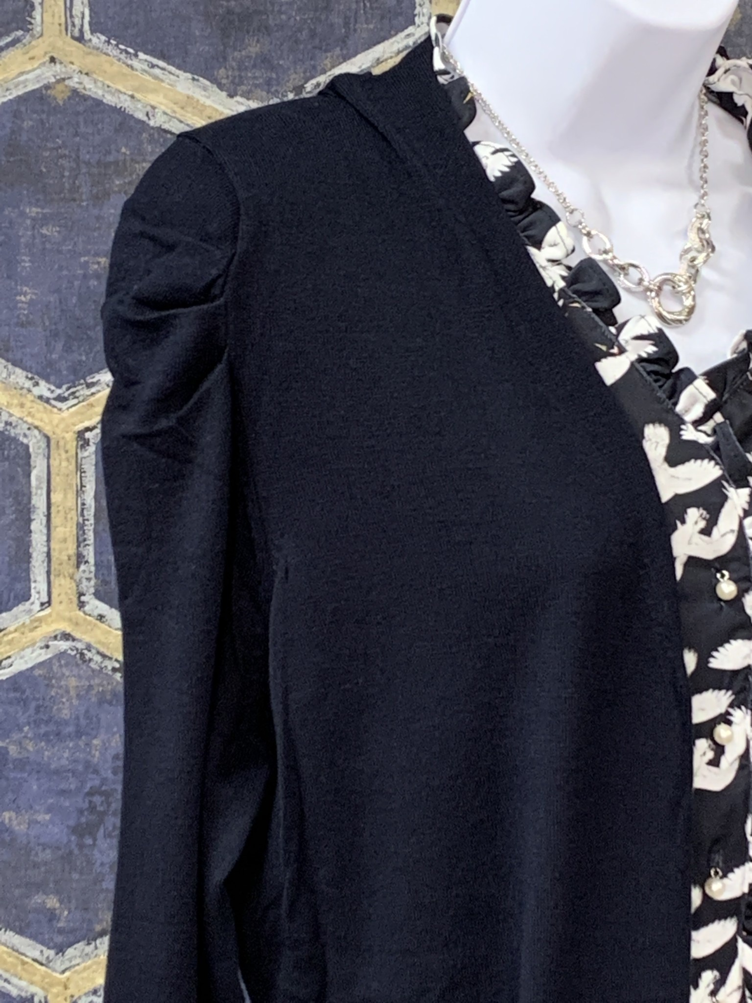 Long Cardi - Fancy Puff Shoulder - Navy