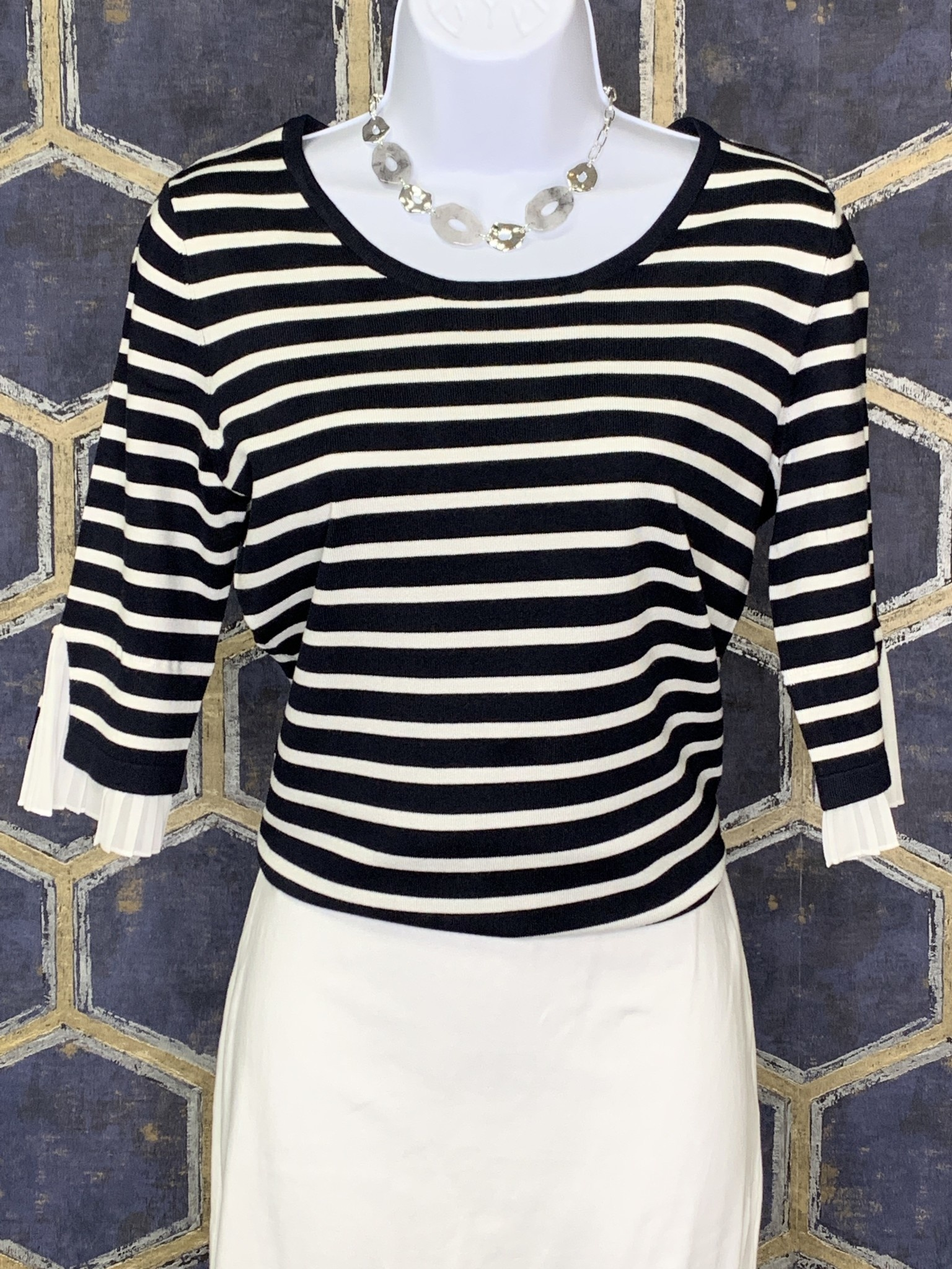 Striped Pullover with Plisse Sleeve Detail