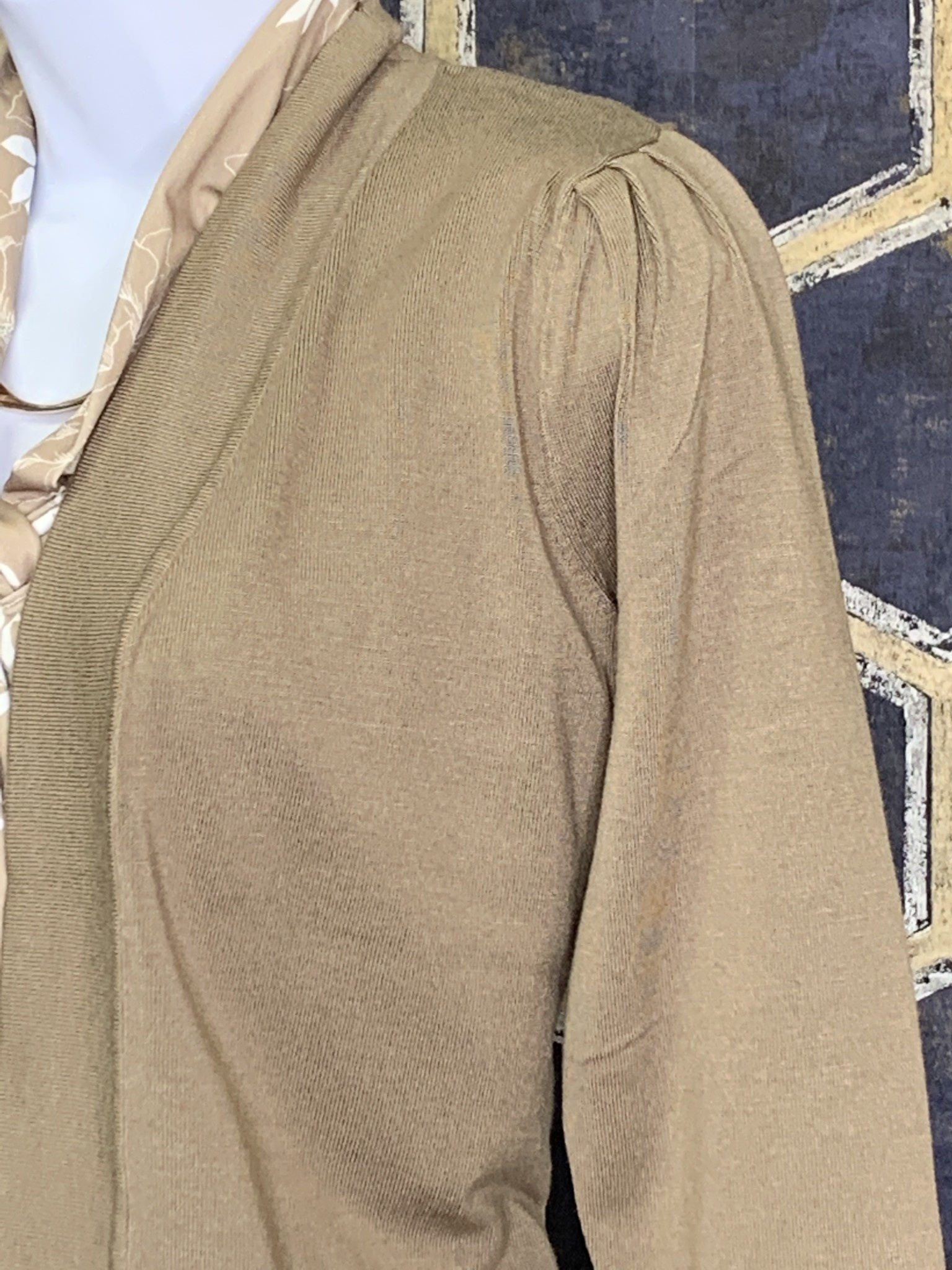 Cropped Cardi - Pleated Shoulder - Taupe