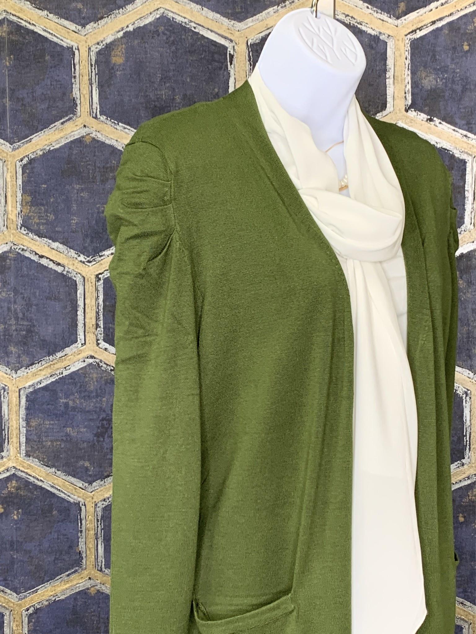 Long Cardi - Fancy Puff Shoulder - Cedar Green