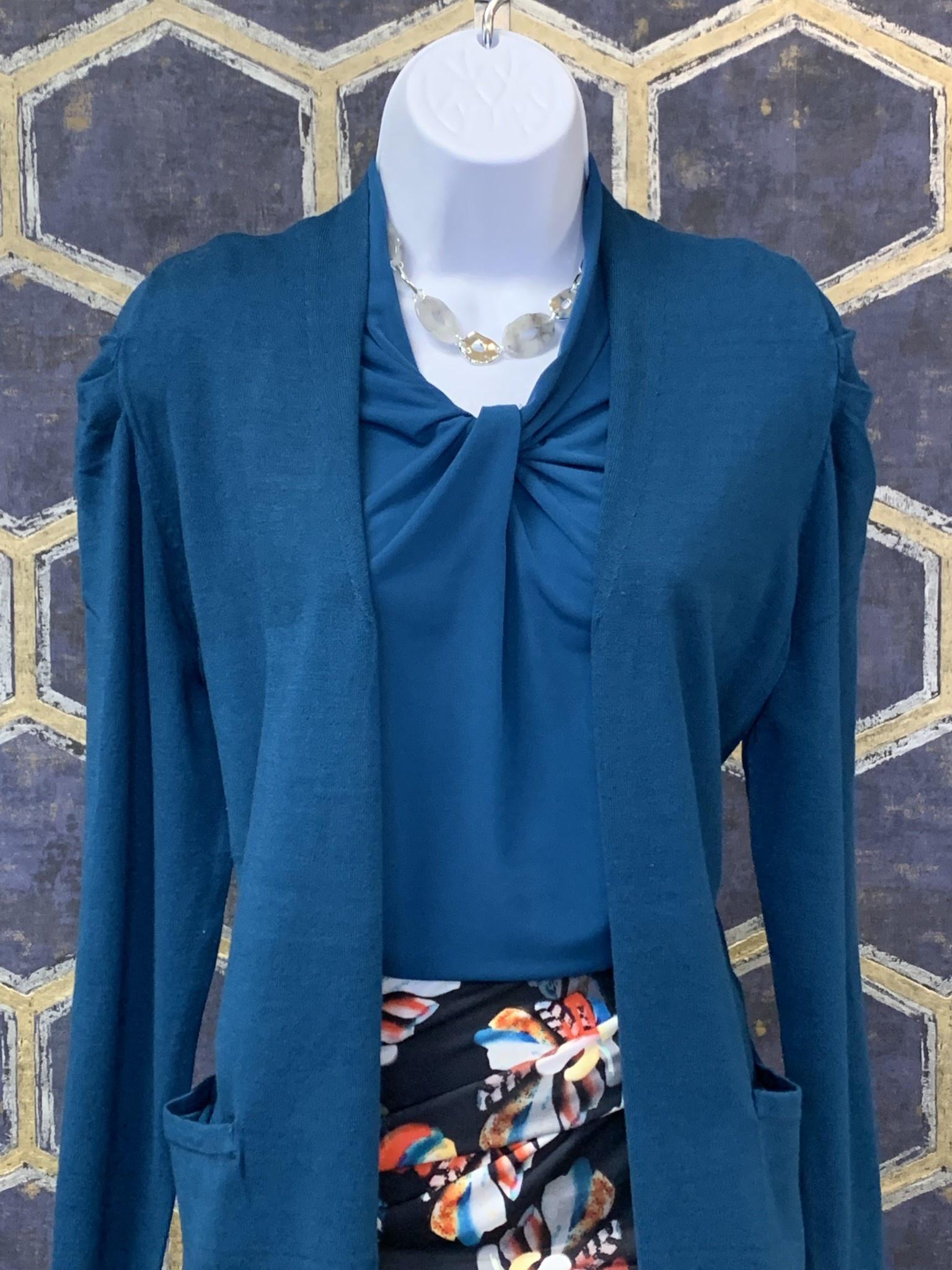 Long Cardi - Fancy Puff Sleeve - Peacock Blue