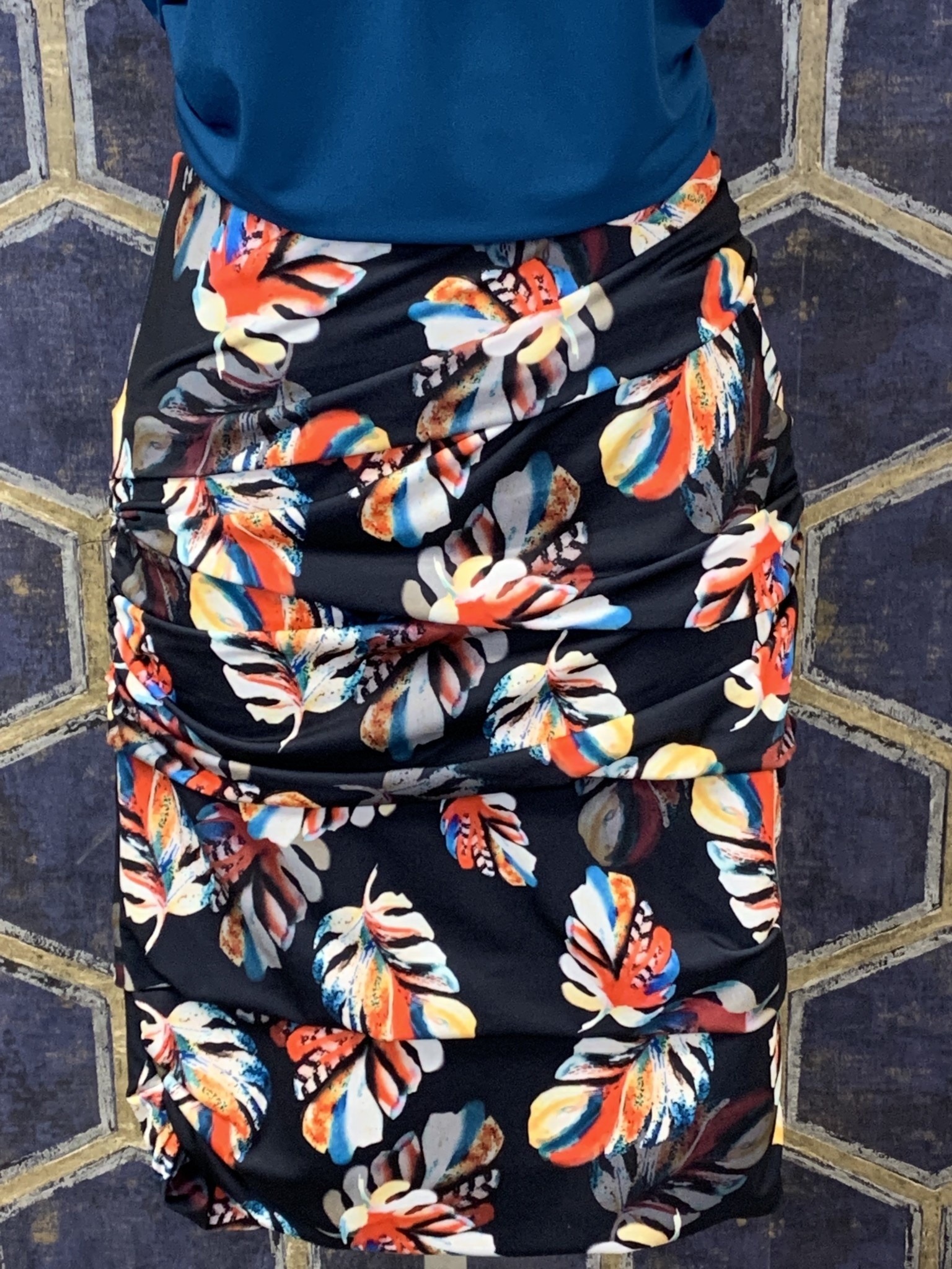 Layered Skirt - Navy Leaves