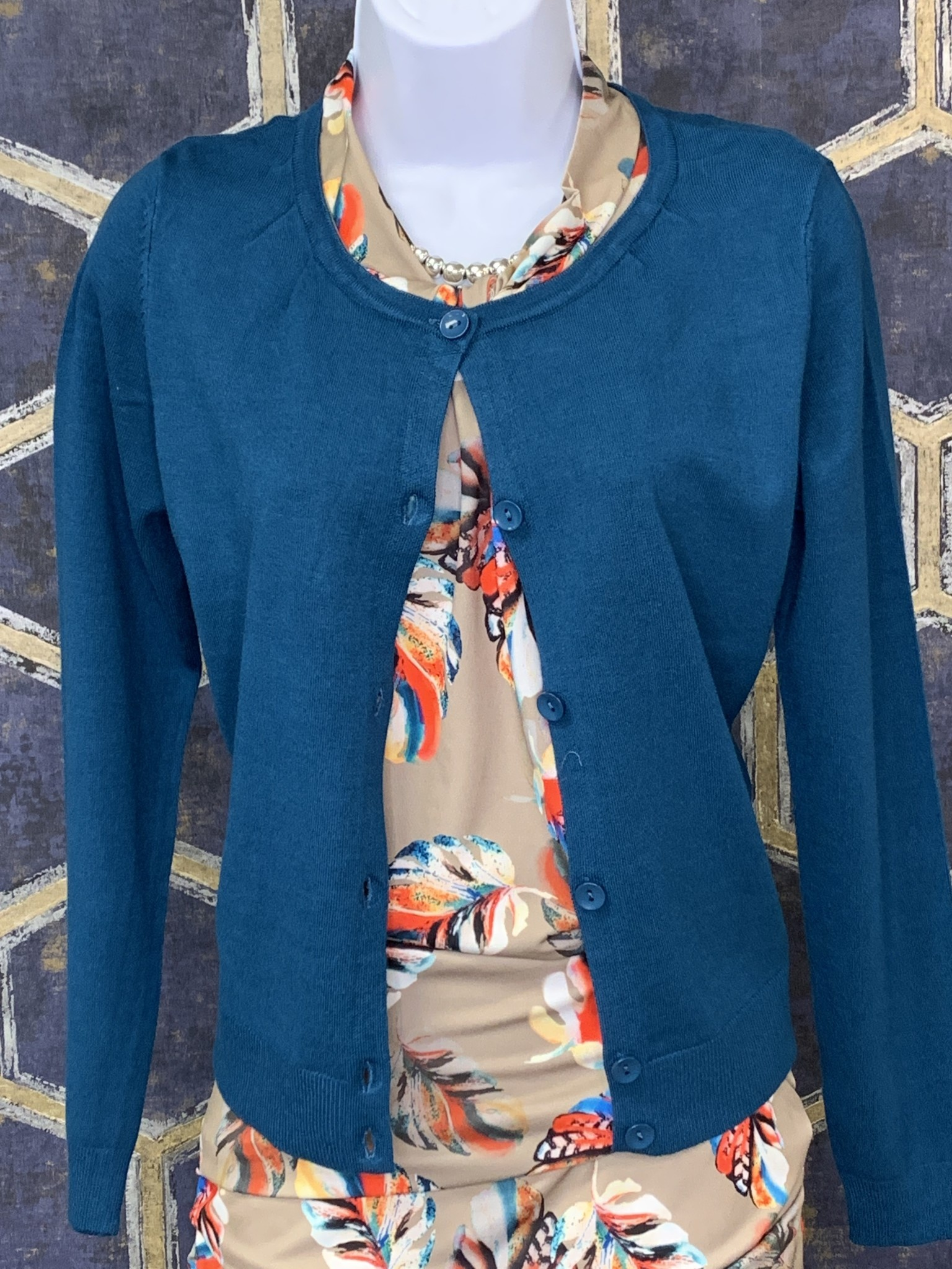 Cardi with Pleated Shoulder - Peacock Blue
