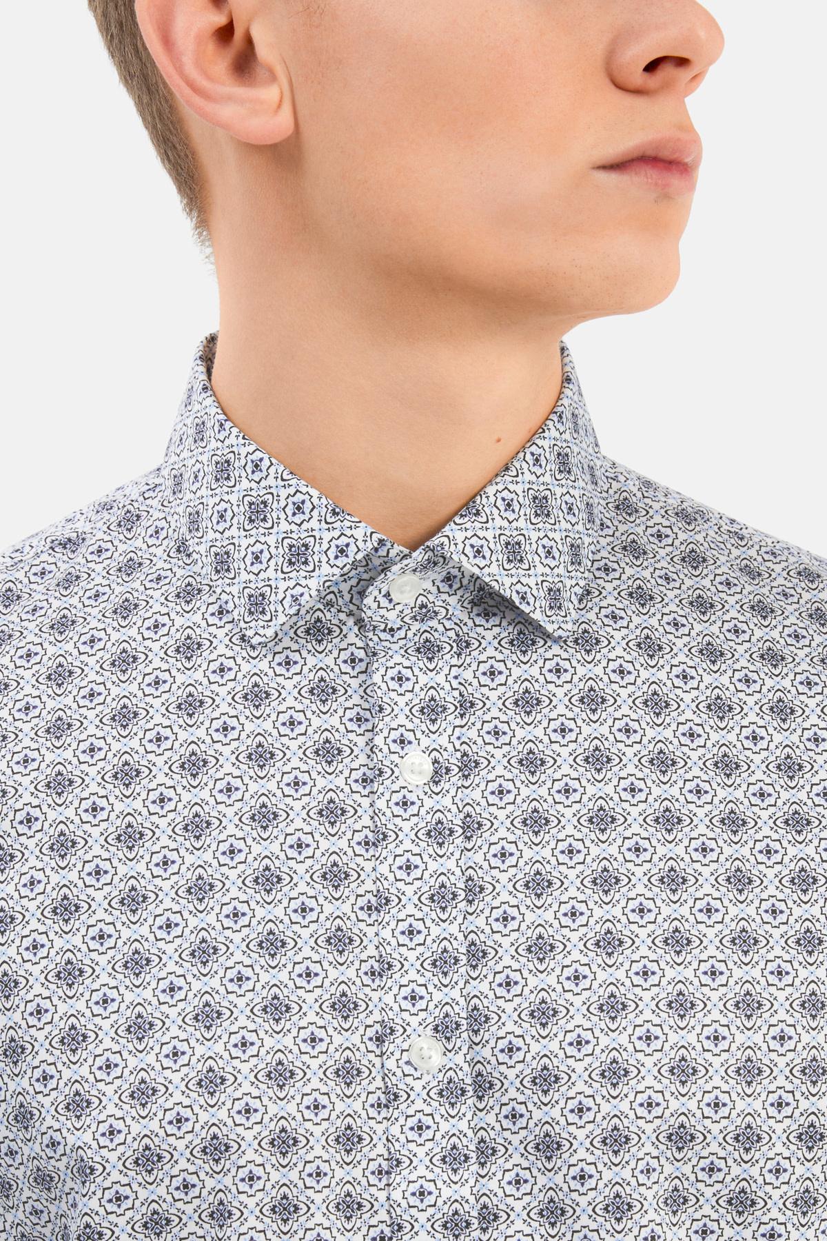 Mens Dress Shirt - Navy Antique Rosettes