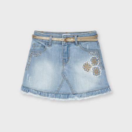 Denim Skirt with Applique - Light Wash