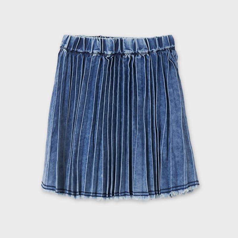 Denim Plisse Skirt