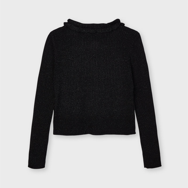 Knit Cardigan with Ruffle Detail - Black