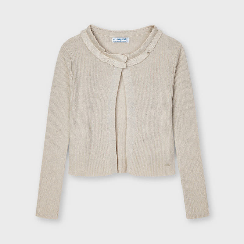 Knit Cardigan with Ruffle Detail - Oatmeal