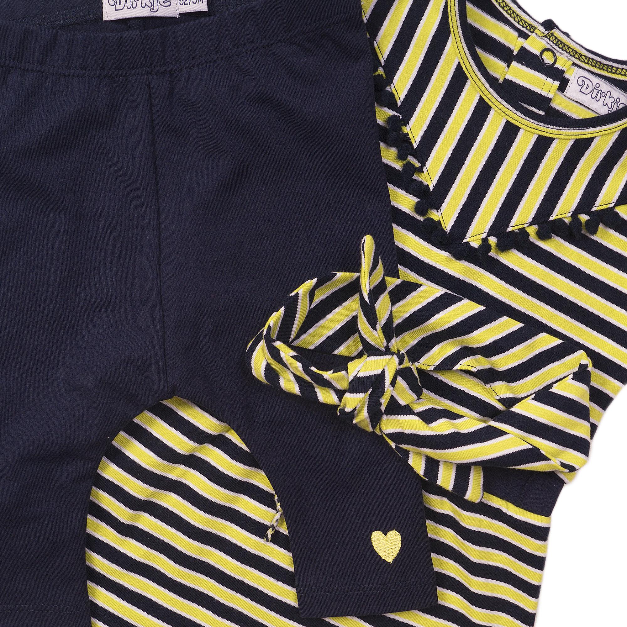 Navy/Chartreuse Stripe 3 Pc Set