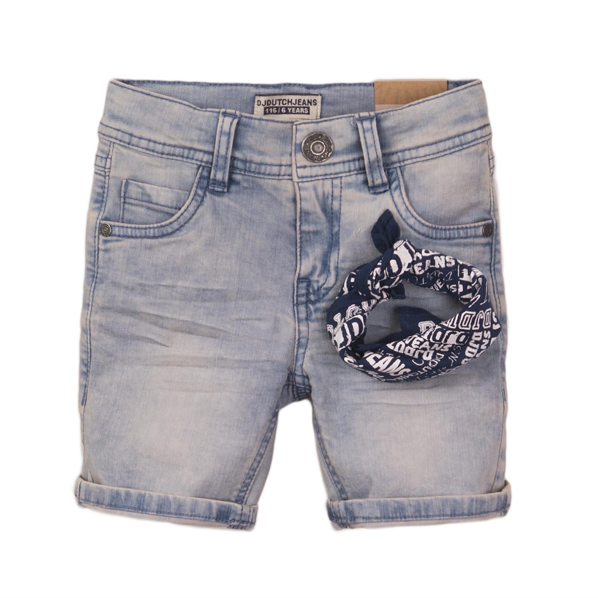 Medium Wash Shorts & Bandana Set