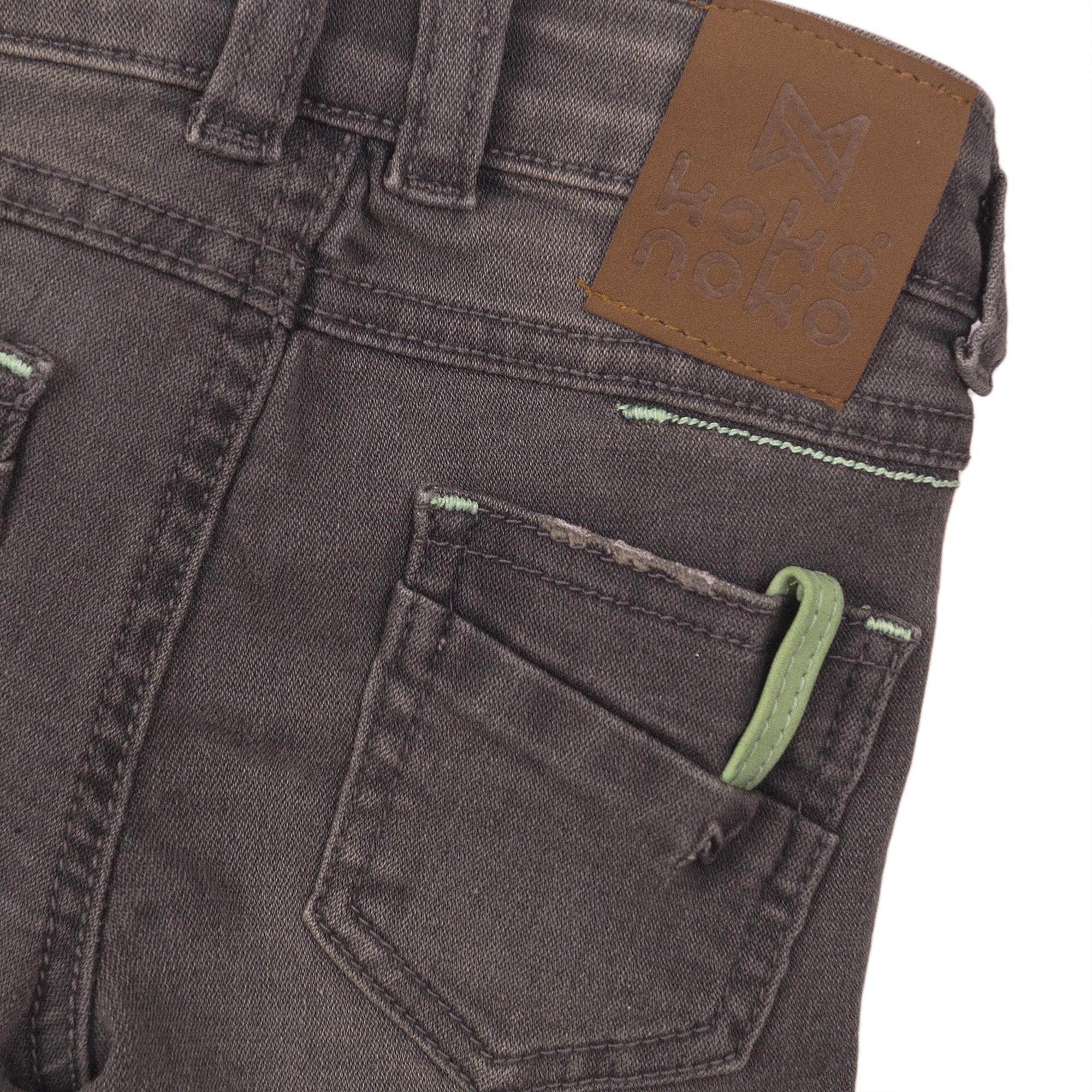 Green Accent Denim Shorts