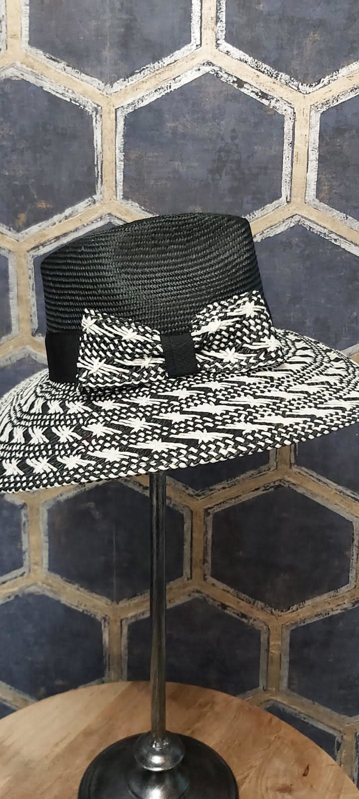 Ladies Hat with Woven Brim