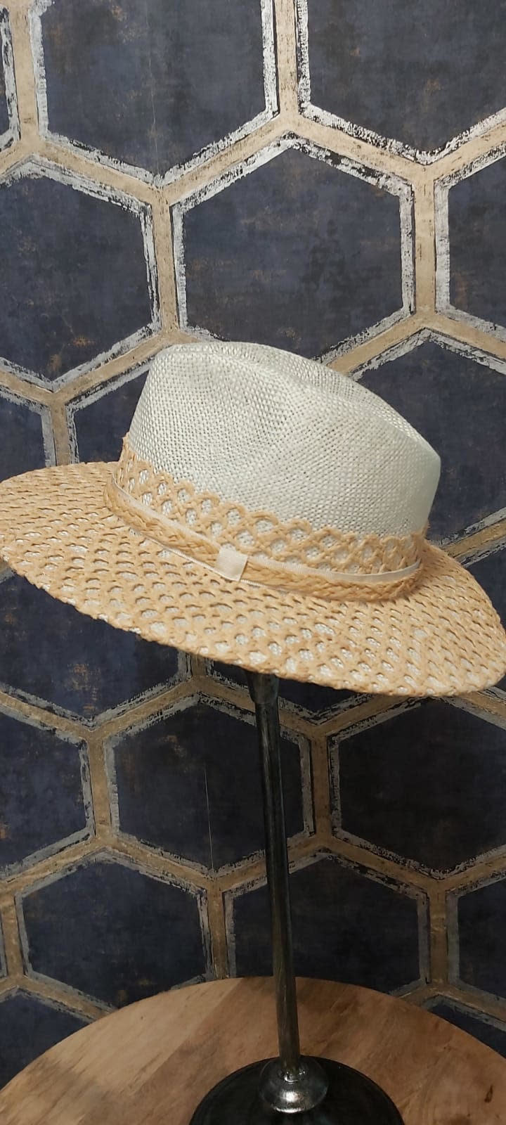 Ladies Western Style Hat with Woven Straw Overlay