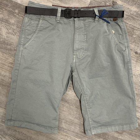 Jeremy Light Grey Twill Shorts with Belt