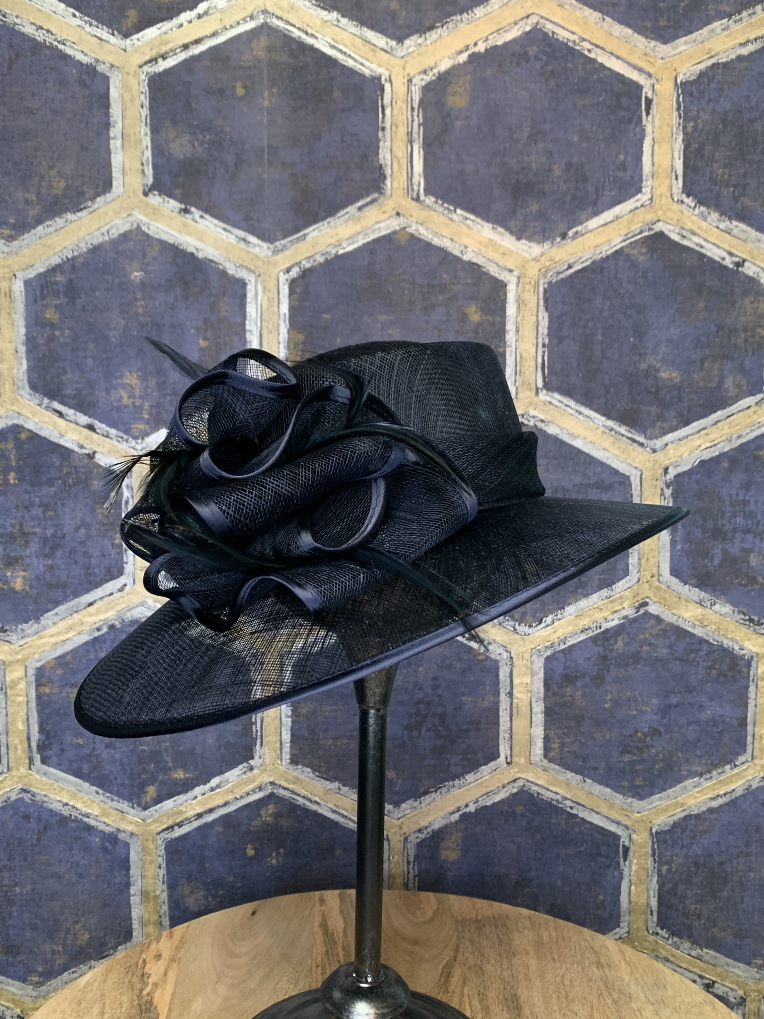 Navy Ladies Hat with Satin Trimmed Bow