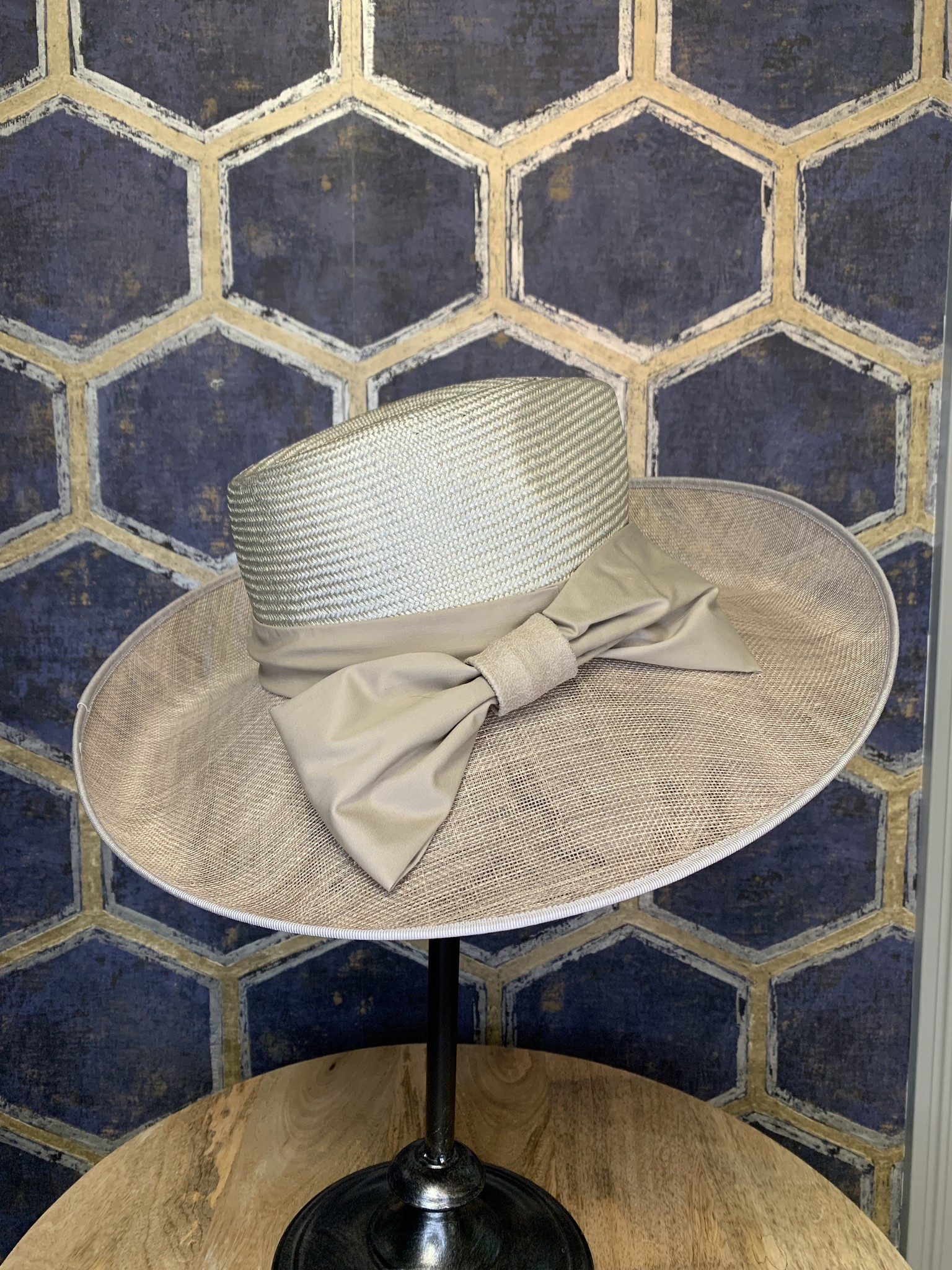 Taupe Ladies Hat with Cloth Bow