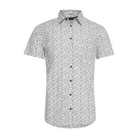 Bright White Print Short Sleeve Dress Shirt