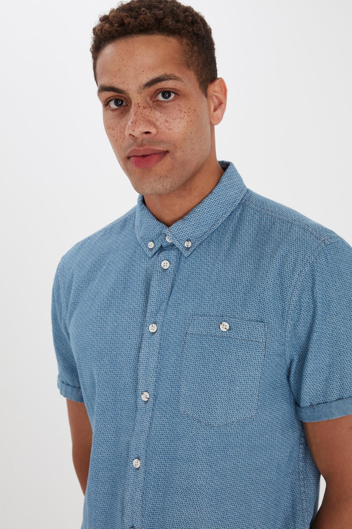 Denim Light Blue Short Sleeve Dress Shirt