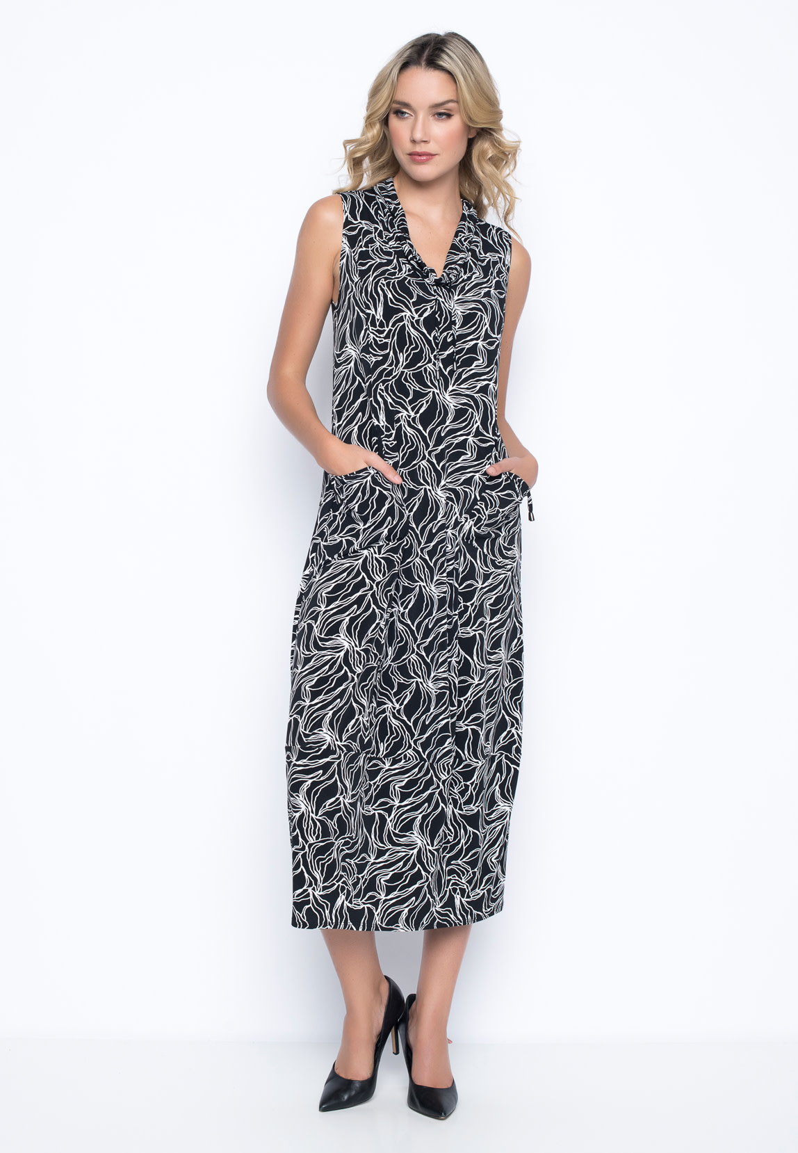 Sleeveless Dress with Drawstring Collar