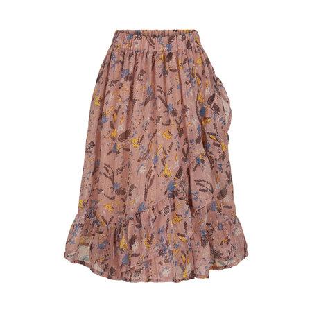 Pink Floral Skirt with Lurex Pinstripe