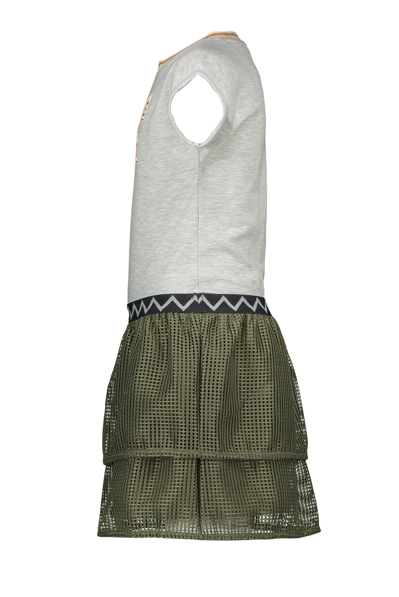 Jersey Dress with Check Mesh Skirt