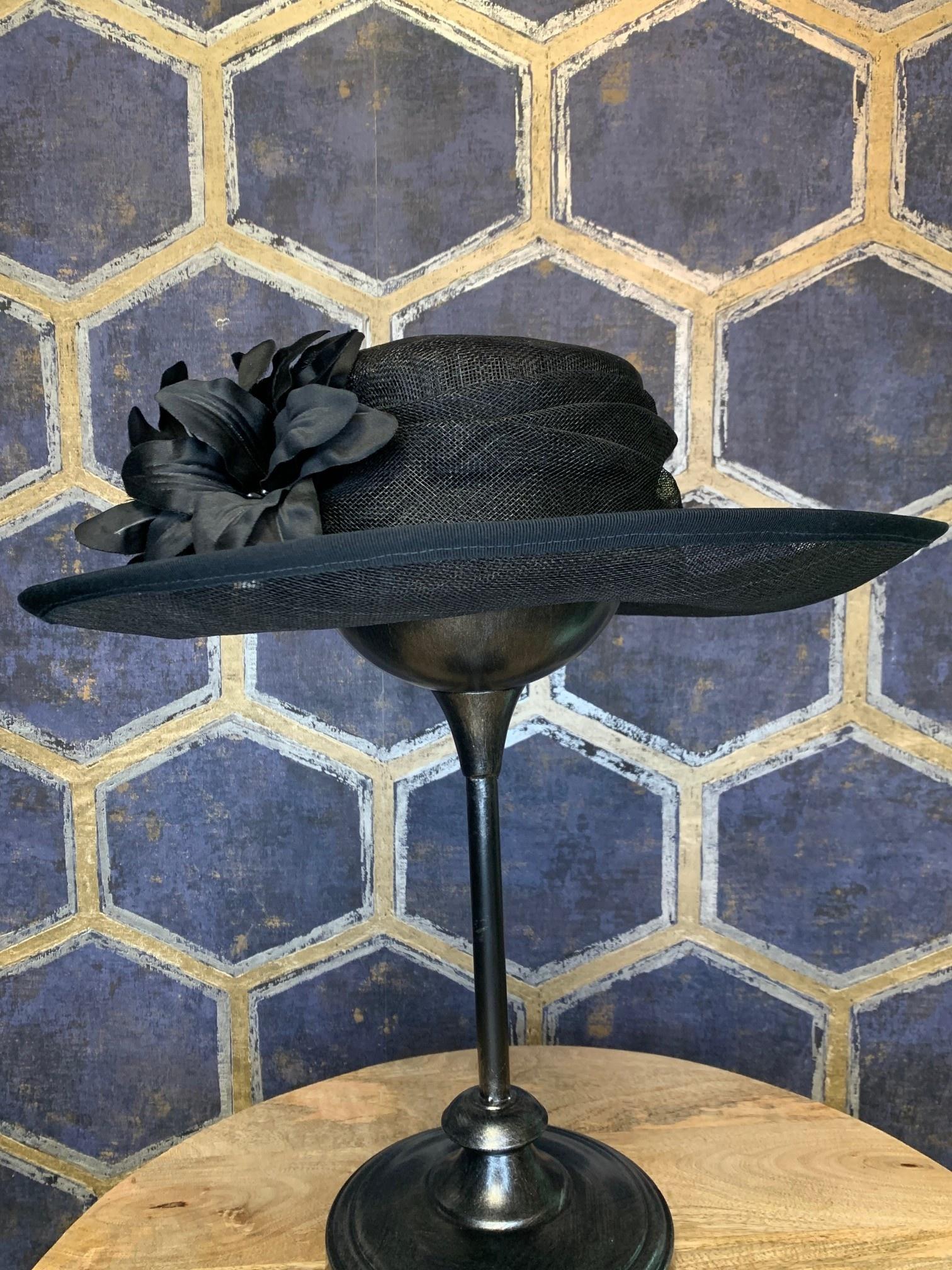 Ladies Black Oval Hat with Flower