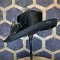 Ladies Black Hat with Bow and Ridged Brim