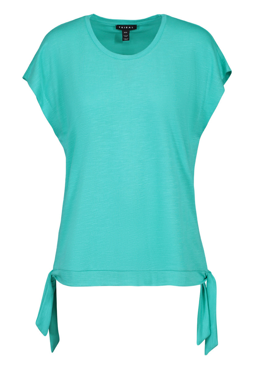 Crew Neck Top with Side Ties - Teal