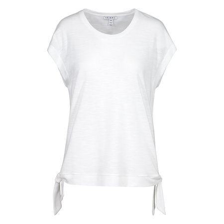 Crew Neck Top with Side Ties - White