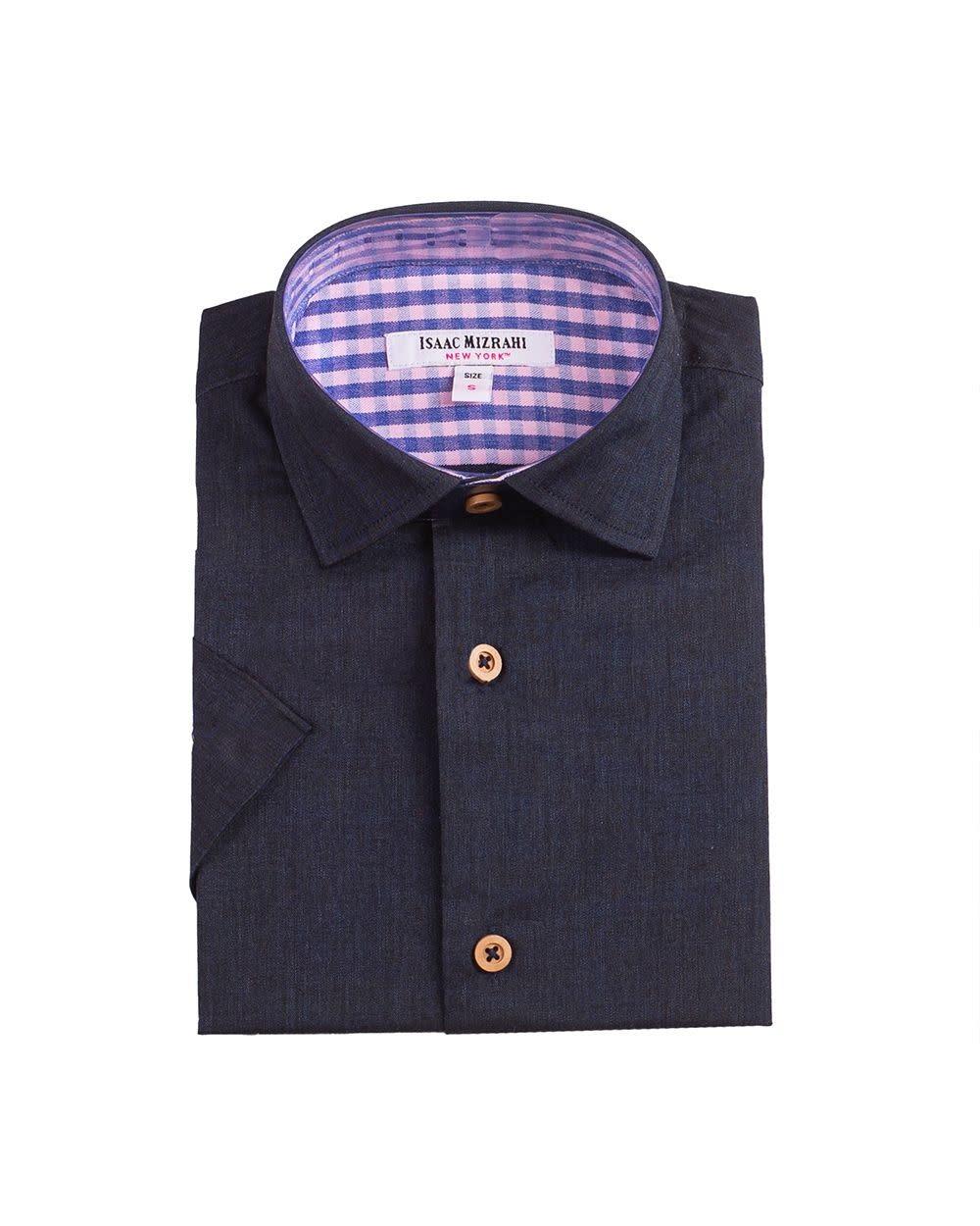 Boys Short Sleeve Dress Shirt - Navy Chambray