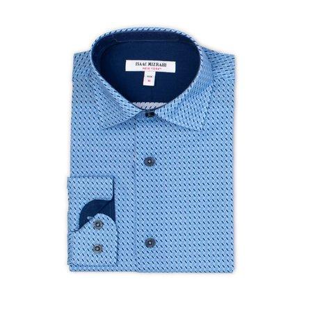 Boys Dress Shirt - Navy Slanted Boxes