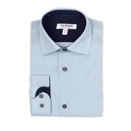 Boys Dress Shirt - Light Blue with Mini Navy Emblems