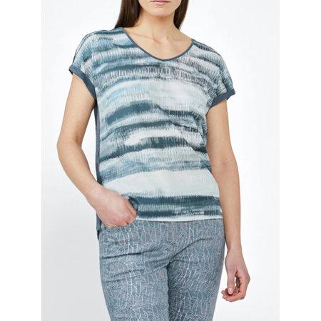 Print Tee with Slub Jersey Back - Blue Shadow