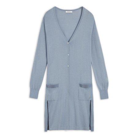 Long Dusty Blue Cardigan