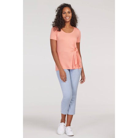 Short Sleeved Top with Front Tie - Peach Tulip