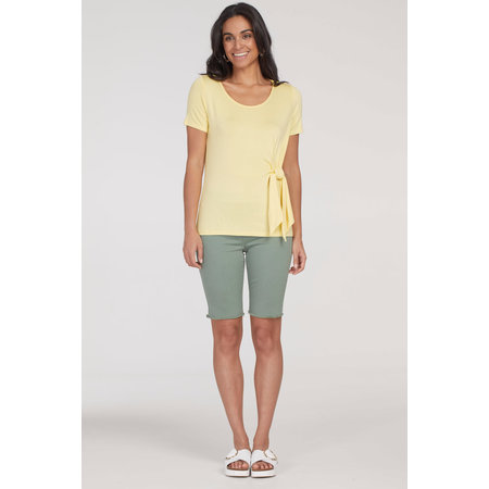 Short Sleeved Top with Front Tie - Buttercup
