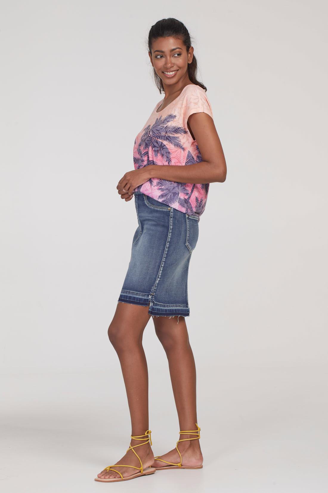 Pull-On Skirt with Step Hem