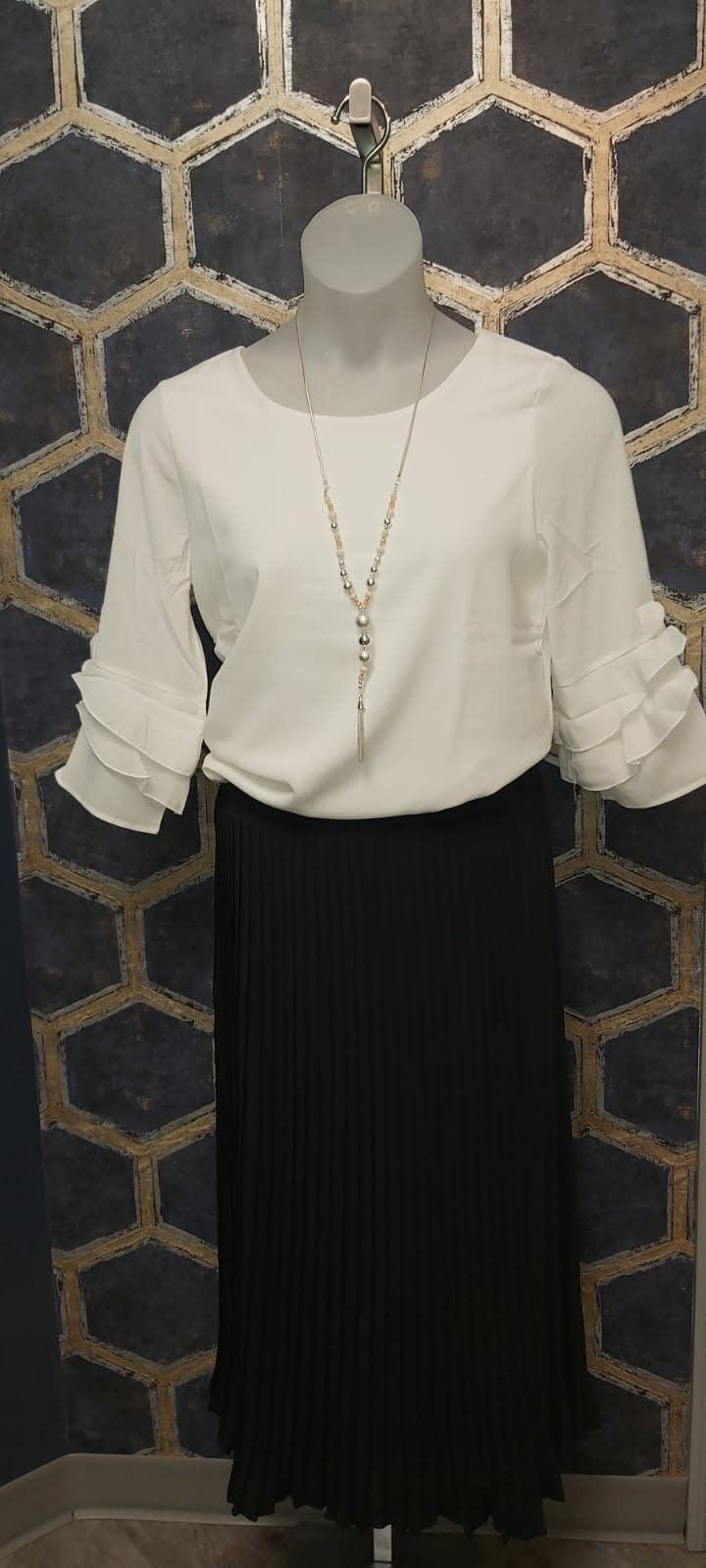 Navy Plisse Skirt