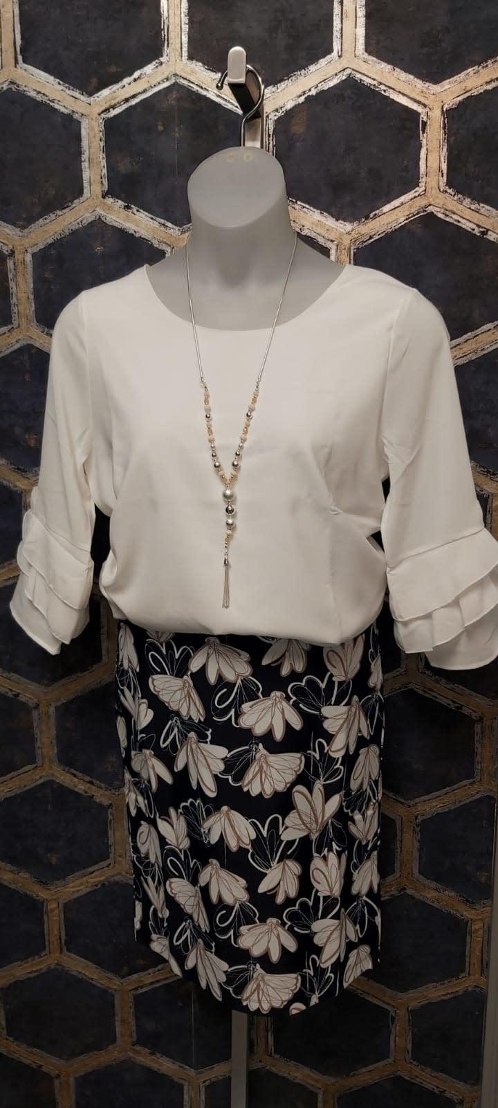 Navy Flower Skirt