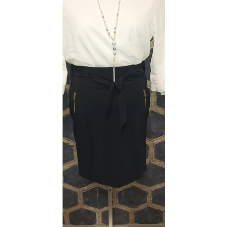 Navy Skirt with Zippers and Belt Tie